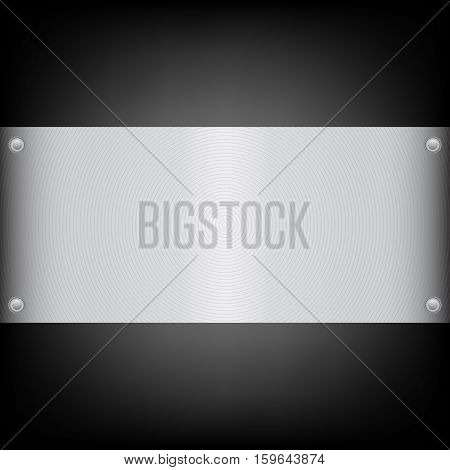 Metal plate on the carbon background . Shiny brushed metal plate banners on white background Stainless steel background vector illustration for you