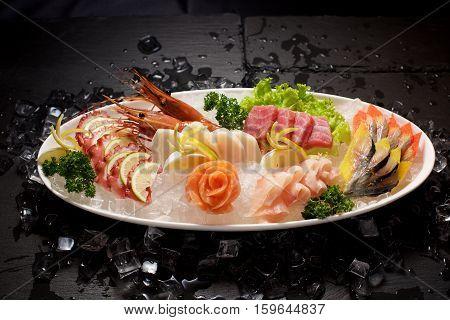 Seafood Sushi Plater On Slate