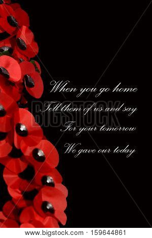 Abstract Creative Remembrance Day Poppy greeting Scene