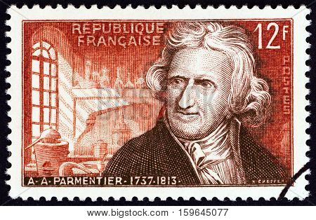FRANCE - CIRCA 1956: A stamp printed in France shows Antoine-Augustin Parmentier, agronomist, circa 1956.