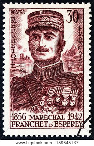 FRANCE - CIRCA 1956: A stamp printed in France issued for the birth centenary of Marshal d'Esperey shows Louis Franchet d'Esperey, circa 1956.