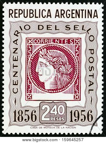 ARGENTINA - CIRCA 1956: A stamp printed in Argentina issued for the Centenary of 1st Argentine Stamps shows Corrientes Stamp of 1856 (Ceres, the Roman goddess of agriculture), circa 1956.
