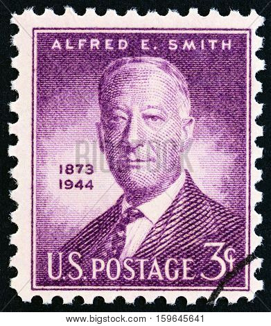 USA - CIRCA 1945: A stamp printed in USA issued for the 1st anniversary of the death of Alfred E.Smith shows Alfred E.Smith, Governor of New York, circa 1945.