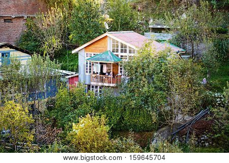 Kullu valley scenery house - Himachal pradesh, India