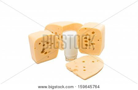 a large piece of cheese on white background