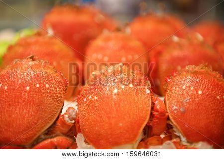 Fresh orange Seafood crab in buffet restaurant