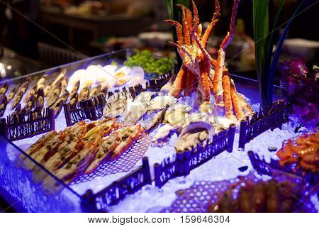 Delicious Seafood buffet on ice in a restaurant