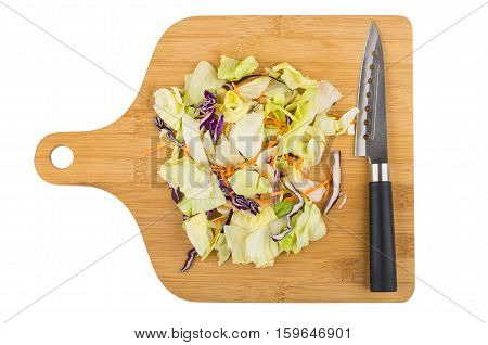 Iceberg Lettuce, Red Cabbage And Carrots On Wooden Board