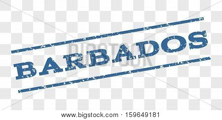 Barbados watermark stamp. Text tag between parallel lines with grunge design style. Rubber seal stamp with dust texture. Vector cobalt blue color ink imprint on a chess transparent background.