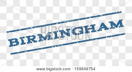 Birmingham watermark stamp. Text tag between parallel lines with grunge design style. Rubber seal stamp with dirty texture. Vector cobalt blue color ink imprint on a chess transparent background.
