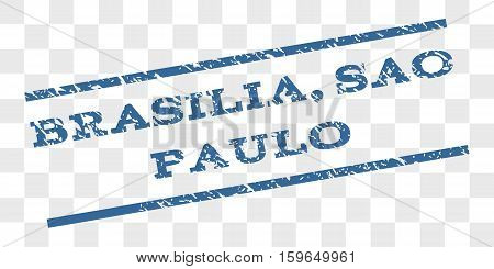 Brasilia, Sao Paulo watermark stamp. Text tag between parallel lines with grunge design style. Rubber seal stamp with dust texture.
