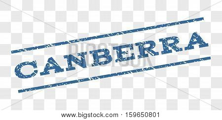 Canberra watermark stamp. Text tag between parallel lines with grunge design style. Rubber seal stamp with unclean texture. Vector cobalt blue color ink imprint on a chess transparent background. poster