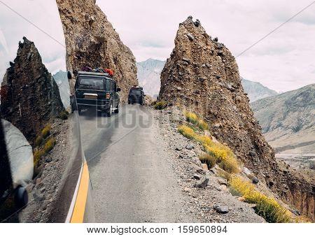 Trafic on mountain road, Hymalayas near Manali , India