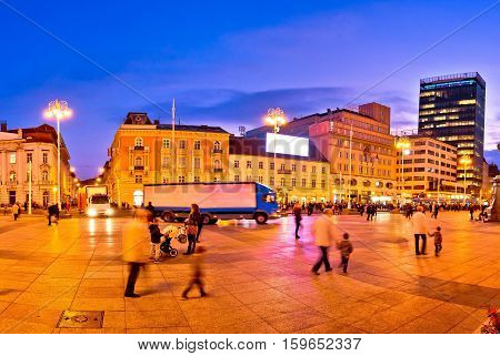 Zagreb central square evening view capital of Croatia poster
