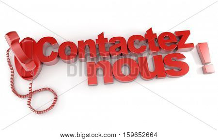3D rendering of a red telephone and the word contactez-nous meaning contact us in French
