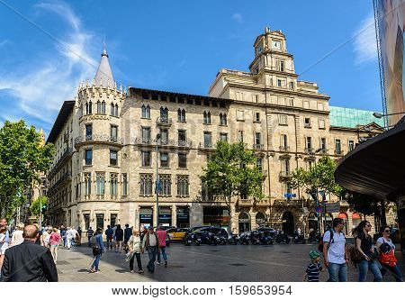 BARCELONA, SPAIN - May 3, 2015: Catalana Occident building at Passeig de Gracia avenue in Barcelona, Spain