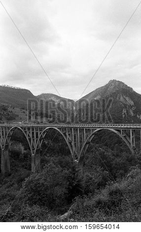 Djurdjevica Tara Bridge Black And White 35Mm Film