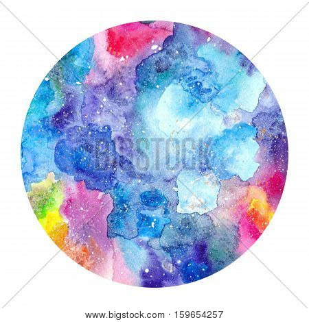 Round watercolor texture. Painted multicolored cosmic space background. Isolated circle with watercolor texture