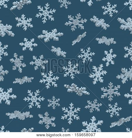 3D snowflakes. Blue seamless background. New year Christmas. Paper packing