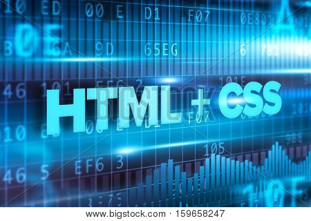 HTML and css abstract concept blue text on blue background