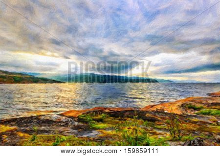 Scandinavian northern nature - rocky ground green moss. Beautiful sunset on Jiepmaluokta bay in the municipality of Alta in Norway. Oil painting effect.