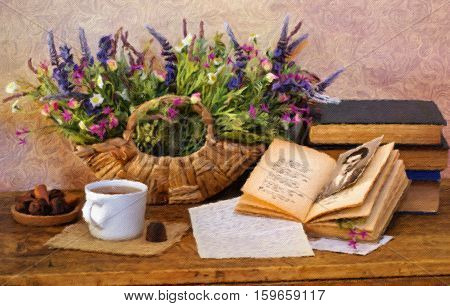 Still life with bright dried flowers old books teacup and truffle chocolates. Oil painting effect.