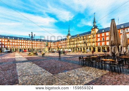 Plaza Mayor with statue of King Philips III in Madrid Spain. Oil painting effect.