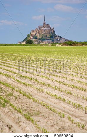 Cultivated fields and Mont Saint-Michel rocky tidal island in Normandy France