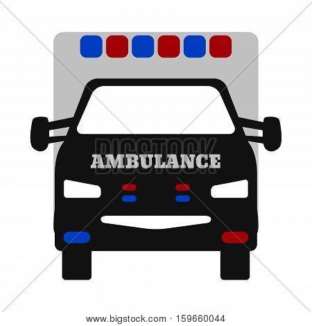 Ambulance Car. Elements Of The Ambulance Equipment Icons. Vector Illustration.