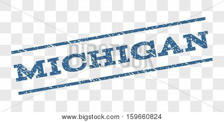 Michigan watermark stamp. Text tag between parallel lines with grunge design style. Rubber seal stamp with unclean texture. Vector cobalt blue color ink imprint on a chess transparent background.