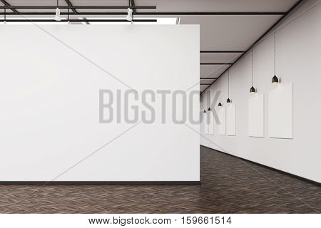 Art Gallery With A Blank Wall And Row Of Pictures