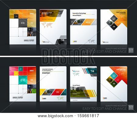 Business vector set. Brochure template layout, cover design annual report, magazine, flyer in A4 with colourful rectangular diagonal shapes, squares, arrows for IT, business, building. Abstract.