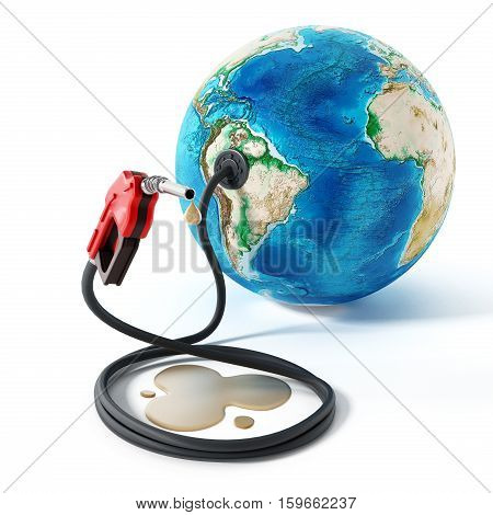 Gas pump and hose connected to the earth. 3D illustration.