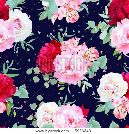 Navy floral seamless vector print with burgundy red and pink peony alstroemeria lily mint eucalyptus. Confetti triangles speckled graphic backdrop.