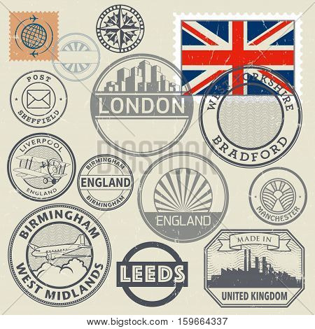 Travel stamps or symbols set England and United Kingdom theme vector illustration
