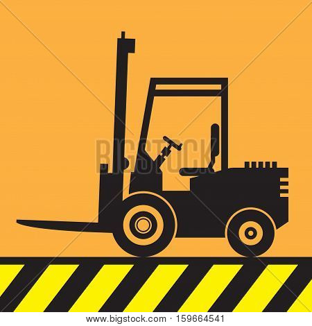 Fork lift truck at work sign or symbol vector illustration
