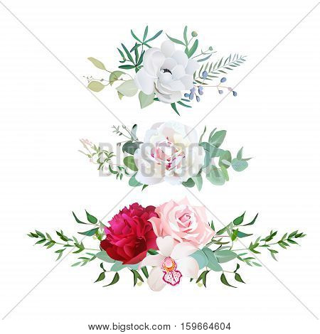 Stylish mix of horizontal flower bouquets vector design flowers set. Rose orchid burgundy red and white peony anemone eucalyptus various plants and herbs. All elements are isolated and editable.