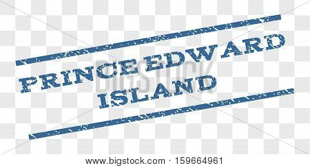 Prince Edward Island watermark stamp. Text caption between parallel lines with grunge design style. Rubber seal stamp with unclean texture.
