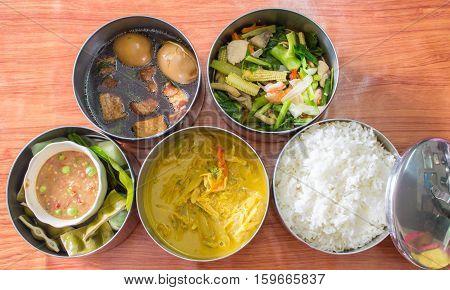 Set of Thai food in food carrier thai style