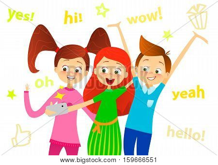 Cartoon children character. Kids smile make selfie. Happy girls and boy enjoy taking selfie with photo camera. Child photography. Joyful young pupils characters. Cute guy with friends. Vector flat