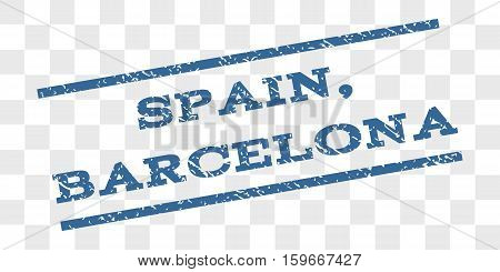 Spain, Barcelona watermark stamp. Text tag between parallel lines with grunge design style. Rubber seal stamp with scratched texture.