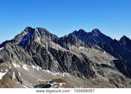 view of Lomnicky stit and Kezmarsky stit from Priecne sedlo, High Tatras, Slovakia