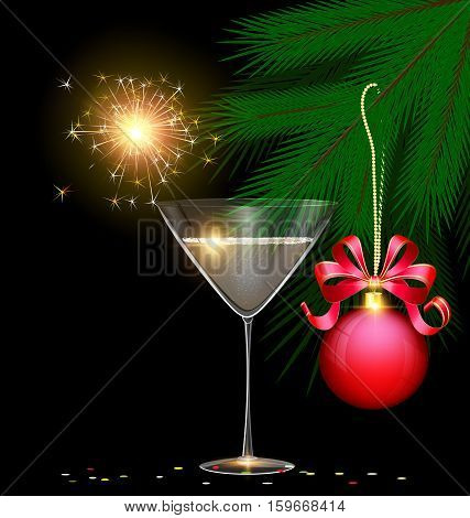dark background and the glass of champagne with burning sparkler inside branch of tree with red ball and confetti