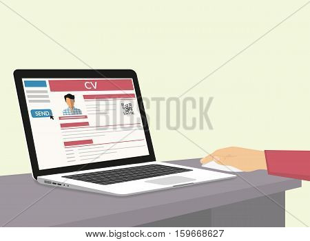 Man is sending his CV via e-mail. Flat illustration of human hand working with laptop at home to prepare and send his cv using internet browser and recruiting website