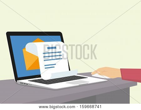 Man is getting a newsletter via e-mail. Flat illustration of human hand working with laptop at home and receiving instant promotion newsletter. Open envelope with white letter paper poster