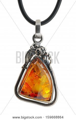 Large women's jewelry pendant from amber in silver