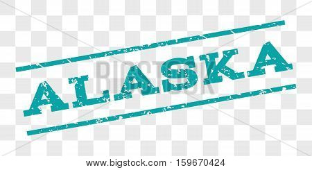 Alaska watermark stamp. Text tag between parallel lines with grunge design style. Rubber seal stamp with dirty texture. Vector cyan color ink imprint on a chess transparent background.