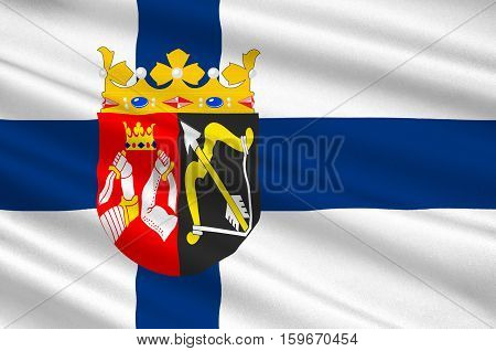 Flag of Eastern Finland Province of Finland. 3d illustration