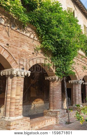 TOLENTINO ITALY- AUGUST 19, 2016:inside the Cloister of the Basilica of San Nicola - Tolentino - Italy