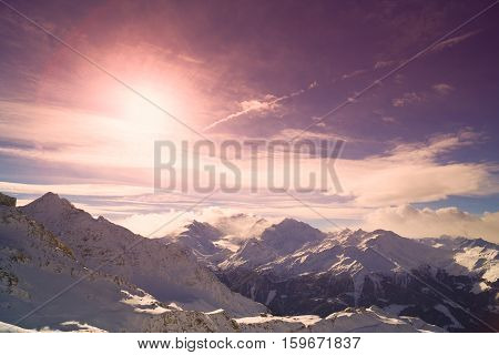 top of winer alp snow mountains panorama